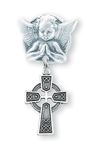 Sterling Silver Irish Baby Celtic Cross Pendant on a Praying Angel Pin ()