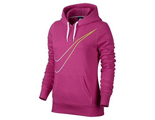 Nike Womens Club Pull Over Large Swoosh Hoodie Hot Pink 669771-612 Size Large