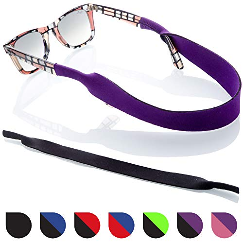 Glasses and Sunglasses Active Strap - 2 Pack | Anti-Slip and Fast Drying Sport Glasses Strap | Colors (Purple + ()
