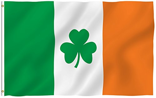 ANLEY® [Fly Breeze] 3x5 Foot Ireland Shamrock Flag - Vivid Color and UV Fade Resistant - Canvas Header and Double Stitched - Saint Patrick's Day Clover Flags Polyester with Brass Grommets 3 X 5 (Parade Quality Costume)