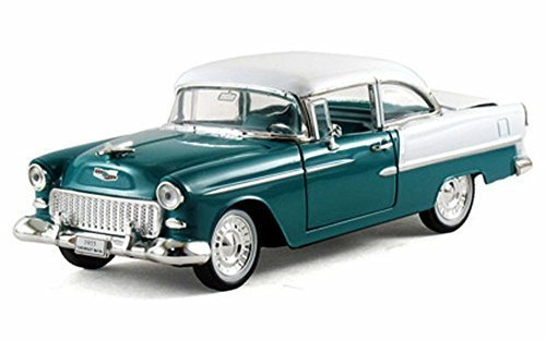 (Arko 1955 Chevy Bel Air Hard Top 1/32 Scale Diecast Model Car Green & White)