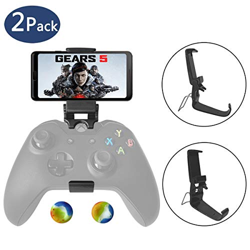 2 Pcs Xbox One Controller Phone Clip Mount, Foldable Mobile Phone Mount Cellphone Holder Compatible with Microsoft Xbox One/Xbox One S/Steelseries Nimbus/SteelSeries Stratus XL/Steam Controllers