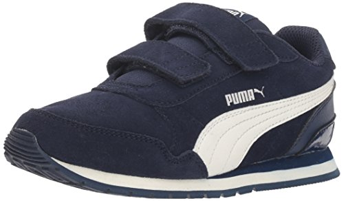 (PUMA unisex-kids ST Runner SD Velcro Kids Sneaker, Peacoat-Whisper White, 3.5 M US Big kid)