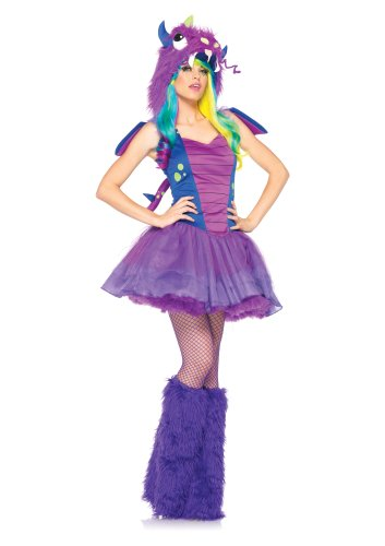 [Leg Avenue Women's 3 Piece Darling Dragon Monster Costume, Purple/Blue, Small/Medium] (Sexy Monster Halloween Costumes)