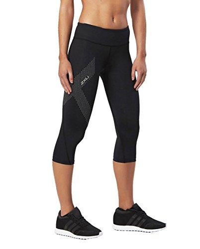 2xu Womens Compression Short - 2XU Women's Mid-Rise Compression 3/4 Tights (Black/Dotted Reflective Logo, Medium)