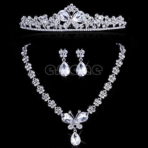 (FidgetFidget Wedding Bridal Flower Butterfly Headband Tiara Necklace Earrings Jewelry Set New)