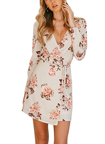 Siyinfushi Women Print Long Sleeve Sexy Deep V-neck Casual Summer Mini Dress (S, 04-Fuse)