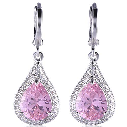 - GULICX Unique Silver Tone Pink Sapphhire Rhinestone Wedding Women Dangle Earrings