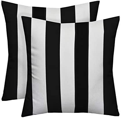 Set of 2 20″ Black and White Stripe Decorative Square Throw Toss Pillows Indoor Outdoor Fabric