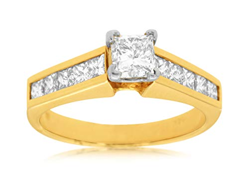 Milano Jewelers 1.45CT Princess Diamond 14KT Yellow Gold 3D Classic Engagement Ring ()