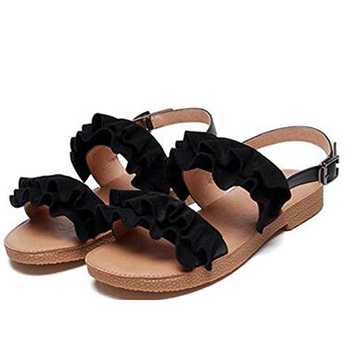 XIAOLIN サンダル女性夏フラットボトム学生旅行ビーチ女性靴夏ファッション夏のカジュアルフラットシューズ(オプションのサイズ) (色 : ブラック, サイズ さいず : EU36/UK3.5/CN35)