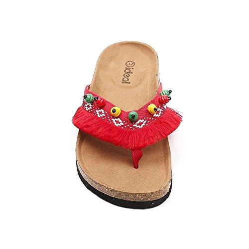 Franges Ideal Pieds Shoes Adixia Rouge à Nu Iw8BqAxwU