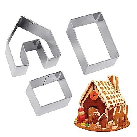 Lanyifang 3pcs Moldes para Galletas Navidad Casa de Pan de Jengibre Set de Cortadores de Galletas Acero Inoxidable Herramientas para Hornear DIY Chocolate: ...