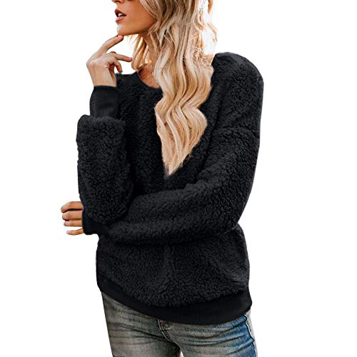 NREALY Pullover Womens Solid Zippers Turtleneck Blouse Fleece Sweatshirt Pullover Tops Shirt(S, Black) ()