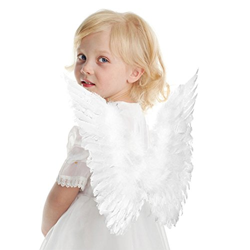her Wings Costume Party Cosplay Butterfly Style Xmas For Kids White Color (Child Feather Wings)