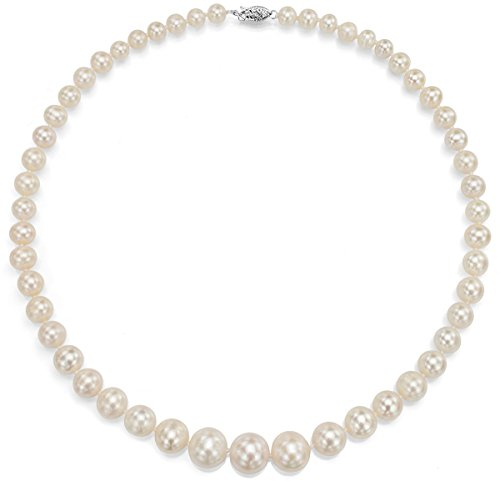 18K White Gold White Cultured Freshwater Pearl Necklace Bridal Jewelry Graduated 6-11mm 18 inch