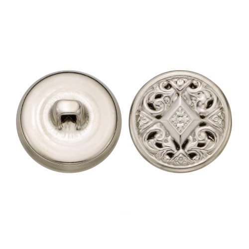 C&C Metal Products 5349 Filigree Metal Button, Size 30 Ligne, Nickel, 36-Pack by C&C Metal Products Corp