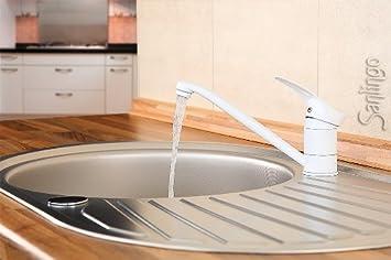 moderne küchen spülbecken einhand armatur mischbatterie weiß ... - Einhand Mischbatterie Küche