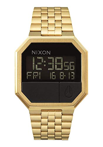 NIXON Re-Run A158 - All Gold - 30m Water Resistant Men's Digital Fashion Watch (38.5mm Watch Face, 18mm-13mm Stainless Steel -