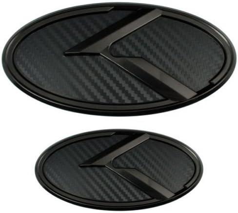 Tacraft KA-S2MCB 3D K Logo Fiber Hood Front Rear Trunk Emblem Sticker Badge for KIA K5 Optima Emblem Black Fiber