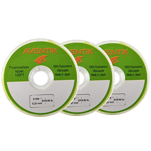 Aventik 3pcs/Lot 100% Fluorocarbon Tippet Super Strong, Supple, Fast Sinking, Invisible, Fly Fishing, Bass Fishing, Carp Fishing, Saltwater Fishing 30 Meter/Spool, 0X-6X (3X)