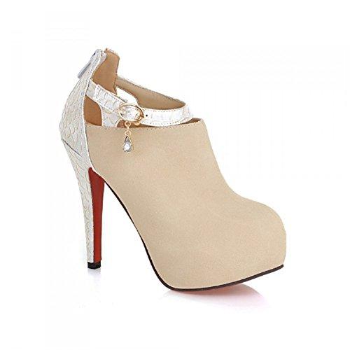 Charm Foot Fashion Womens Platform High Heel Ankle Boots Dress Boots Beige UcBA4