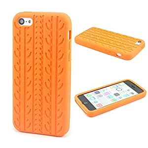 """Orange Case for Apple iphone 6 4.7"""" Cute Tire Tread Style Soft Silicone Cover(Gift 2 PCS Sticker)"""