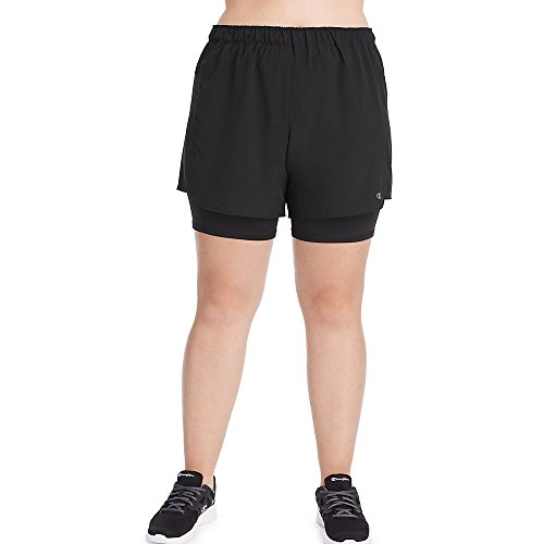 Plus Champion Shorts Size (Champion Women's Plus-Size Woven 2 in 1 Short, Black 2X)