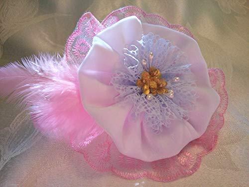 Light Pink White Velvet Lace Flower Large Brooch 6'' Bridal Sash Belt Bag by Studio SilkFantazi