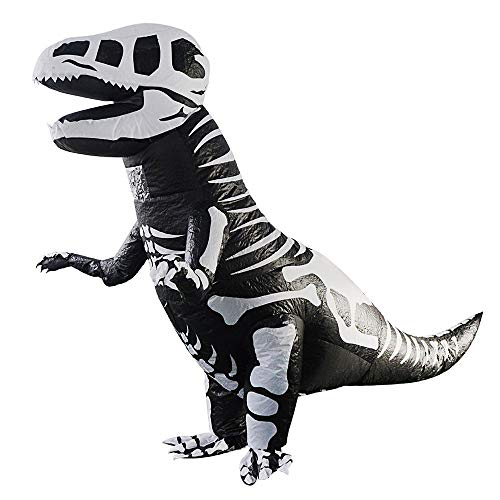 FOONEE Inflatable Dinosaur Costume, Giant Skeleton T-Rex Inflatable Dinosaur Halloween Fancy Dress Costume Suit - One Size