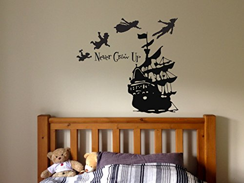 Peter Pan Cartoon Never Grow Up Wall Decal Sticker Ship Pirate Kids Children Boys Nursery Bedroom 1485b Buy Online In Bahamas At Bahamas Desertcart Com Productid 80461646