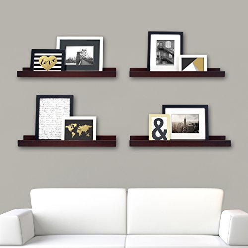 Kiera Grace Edge Picture Frame Ledge, 23 by 4-Inch, Set of 4, Espresso (Shelving Frame)