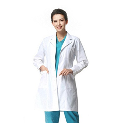 SamTaiker Adults Women White Scrubs Lab Coat Long Sleeve with Three Pockets Doctor Scientist Uniforms (Large, Adult Lab Coat)]()