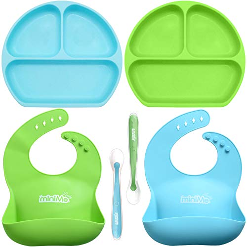- Lovely Minime Baby Feeding Set, Suction Plates for Toddlers, Fits Most HighChair Trays,Waterproof Adjustable Silicone Bib,Soft Tip Spoon, Non-Toxic, BPA Free | Dishwasher/Microwave Safe |