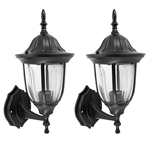 (IN HOME One-Light Outdoor Wall Up Lantern, Exterior Light Fixtures with One E26 Base, Wet Rated, Black Matte Finish Cast Aluminum Housing with Clear Glass Shade, ETL Listed, Twin Pack)