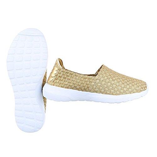Ital-Design Slipper Damenschuhe Herren Unisex Low-Top Leichte Halbschuhe Gold LT-48