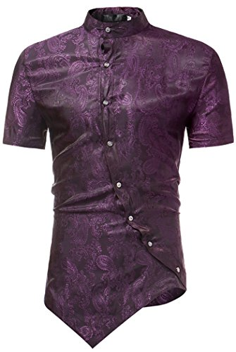 HOP Men's Casual Short Sleeve Irregular Longline Hem Slim Fit Paisley Button Down Dress Shirt Bandanna Embrodiery HOPM121-Purple-L