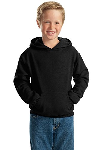 (Jerzees Youth 8 oz, 50/50 NuBlend Fleece Pullover Hood, Small, Black)