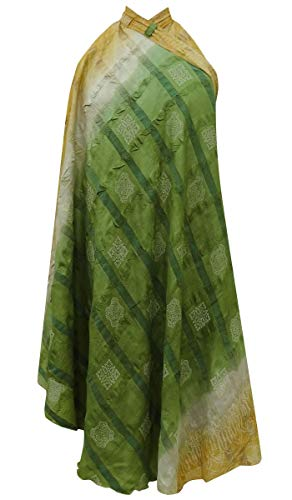 Wrap Vintage Pure Soie Summer Beach Dress Rouge Indianbeautifulart Verte Saree rversible Imprimer Femmes Check Les Olive HwYnnvUqB