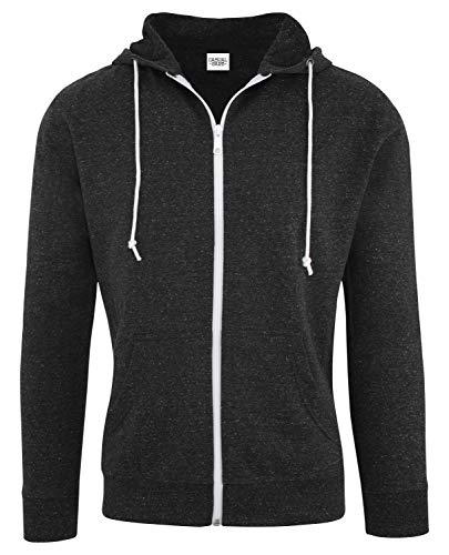 (Casual Garb Hoodies for Men Snow Heather French Terry Full Zip Hoodie Hooded Sweatshirt Black X-Large)