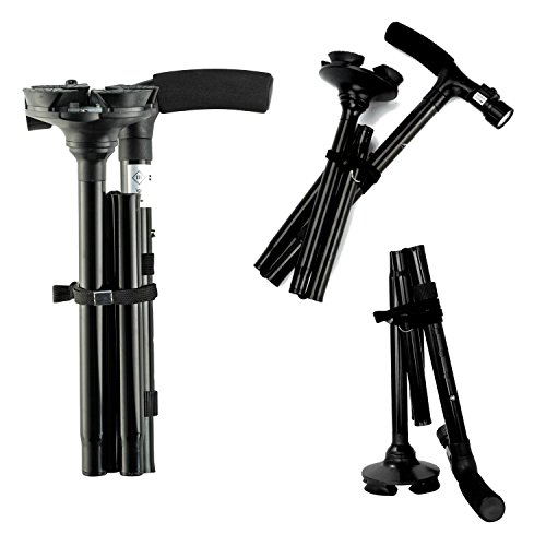 "Travel Adjustable Folding Canes and Walking Sticks for Men and Women with Led Light and Cushion Handle for Arthritis Seniors Disabled and Elderly Best Mobility Aids Cane. Adjusts from 34"" to 39"