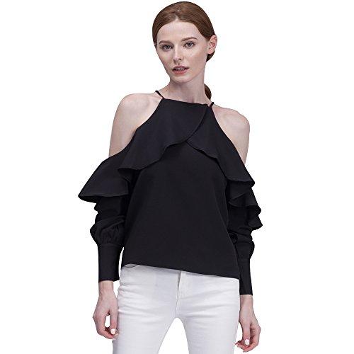 Chiffon Flounce - BELLA PHILOSOPHY Women's Chiffon Blouse Shirt with Halter Cami Off Shoulder Ruffles Flounce Long Sleeve Details (L,black)