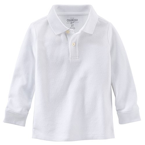 003a87eb Image Unavailable. Image not available for. Color: OshKosh B'gosh Little  Boys' White Long Sleeve Piqué Polo ...