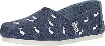 TOMS Women's Classics Oceana Washed Canvas Embroidered Whales 10011559 Women's Size 5