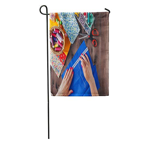jiebokejiHFGD Garden Flag Colorful Quilt Woman Hand Stitching Quilting Patchwork Female Quilter Sewing Home Yard House Decor Barnner Outdoor Stand 12x18 Inches Flag ()