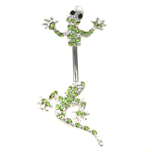 Lizard Belly Navel Ring (Unique Split Style (In & Out) Steel Gem Paved Green Lizard Belly Button Ring - 14 Gauge 7/16