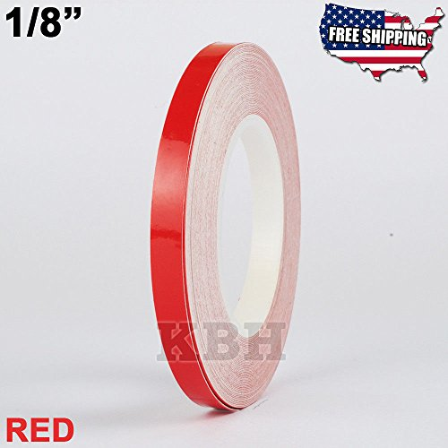 USA Premium Store 1/8'' Roll Vinyl Pinstriping Pinstripe Soild Line Tape Decal Sticker 3mm RED by Unknown (Image #2)