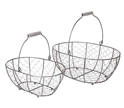 SLPR Grey Metal Round Wire Basket with Handle (Set of 2) | Vintage Rustic Farmhouse Country Style Metal Chicken Wire Storage for Shelves Pantry Closet Home Decor (Baskets Handles With Small Metal)