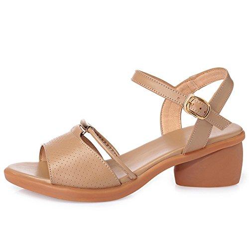 mujer de calzado piel sandalias talón auténtica Para trabajo Chunky de Camel gMcdyqKFPF