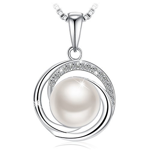 "J.Rosée 925 Sterling Silver Pendant Freshwater Cultured Pearl Twisted Pearl Necklaces with 18"" Silver Box Chain Christmas Jewelry Gifts"